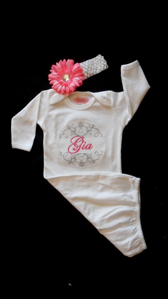 Monogram Layette Gown Take Home Lilmamas Etsy