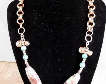 Beautiful Copper Chain Maille and Imperial Turquoise Necklace