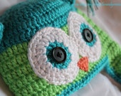 Infant Owl Ear Flap Hat in Turquoise and Lime Newborn, 3 Months, 6 Months