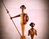 Mid Century Vintage Wood Figure Hand Turned  Walnut / Teak Figurines Don Quixote and Sancho Panza