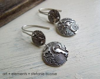 """ARTisan Made """"Bella's Garden"""" Earrings - Sterling Silver - OOAK"""