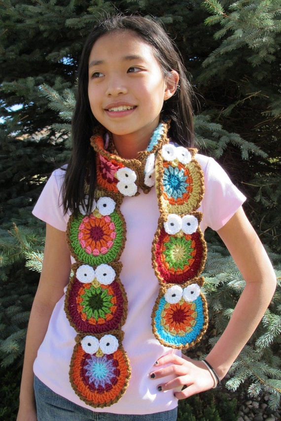 Crochet Pattern - B HOO UR Scarf - a colorful owl scarf - Instant PDF Download