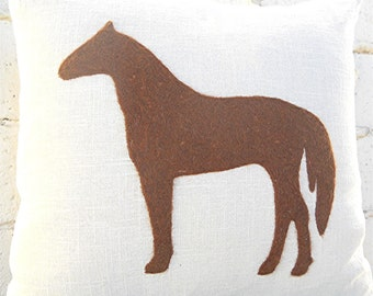 Felt Silhouette Pillow, Personalized Pillow Cover, Felt Roving Horse Silhouette by viAnneli, Customized Pillow, Made to Order