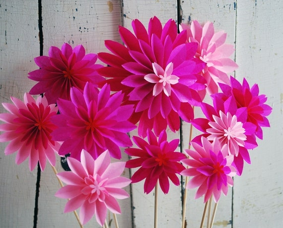 hot pink paper flowers pink dahlia mix  spring flowers, Natural flower