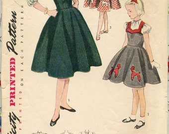 """1950s Vintage Sewing Pattern Simplicity 3647 Girl's Sundress or Jumper and Back Button Blouse Breast 28"""""""