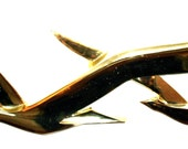 Retro Vintage Syroco Mid Century Modern Gold Colored Birds in Flight Jere Style Wall Decor Hanging 3D Art