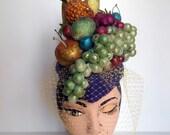 Carmen Miranda, Fruit Hat, Pillbox, Cocktail Hat, Headpiece, With Glittered Fruit, And Veil.