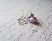 Lilac Drop Earrings, Light Purple Earrings, Lilac Earrings, Bridal Party Earrings, Made in Sweden, Swedish Jewelry, Scandinavian Jewelry