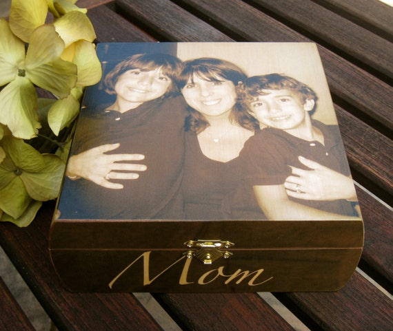 Mother's Day Keepsake Box, Unique Personalized Gift, Custom Photo Memory Box, Wedding Parents Gift, Memorial Keepsake Box, Christmas Gift