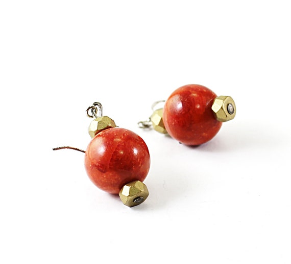 Red coral earrings, sterling silver jewelry classic style coral jewelry