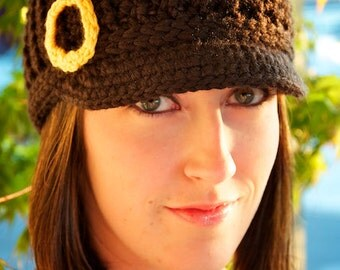 READY TO SHIP Women's College-Themed Brimmed Beanie - Black w/ Yellow