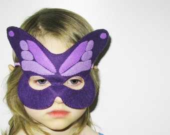 Butterfly felt Mask - Lilac Lavender Violet - kids carnival costume - gift for girls - soft Dress Up play accessory - Theatre roleplay
