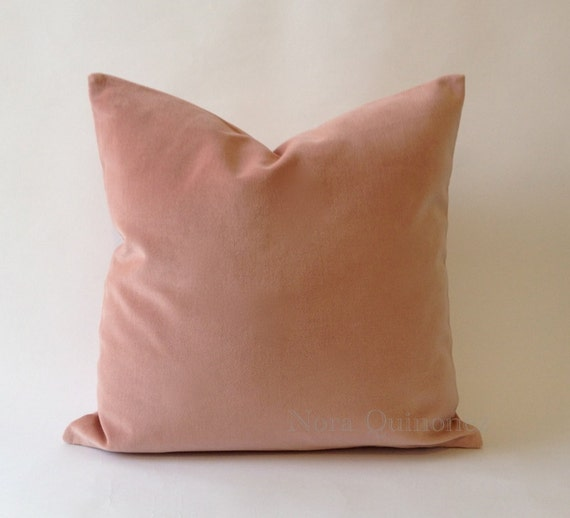 Rose Pink Cotton Velvet Pillow Cover - Decorative Accent Throw Pillows -Invisible Zipper Closure -Knife Or Piping Edge -16x16 to 26x26