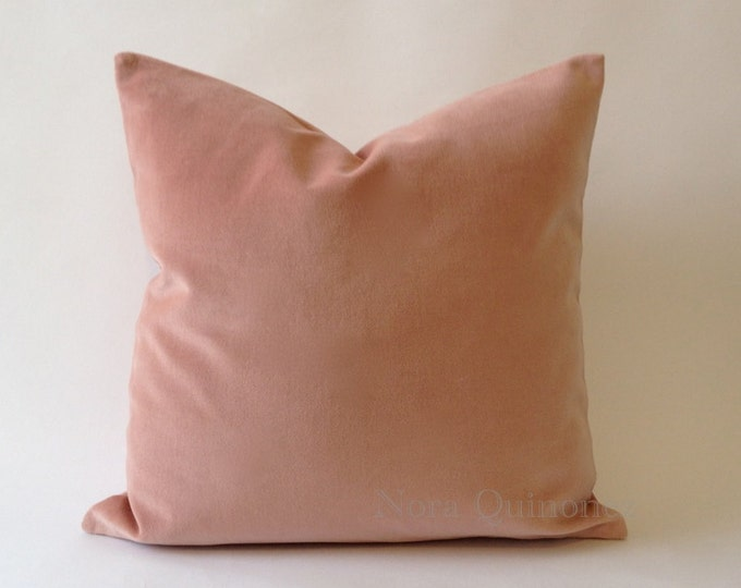 Decorative Velvet Pillow Cover -18 Color Choices- Knife Or Piping Edge -16x16 to 26x26 inches -Rose Pink Cotton Velvet Pillow Cover
