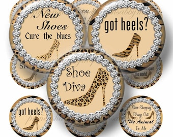 SHOE DIVA, Bottle Cap Images, Digital Collage Sheet, 1 Inch Circles, Printable Animal Jungle Prints, Instant Download, (ap No.3) Shoe Saying