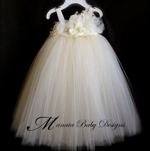 Ivory Vintage Tutu Dress / Ivory Flower Girl Dress / Ivory