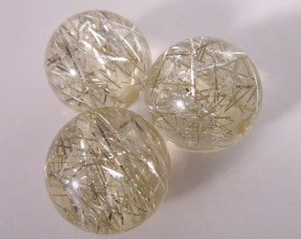 8 Vintage 18mm Clear Lucite Silver Tinsel  Beads Bd543