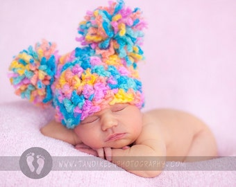 SALE & READY Baby Girl Hat -  Baby Hat - Super Soft and Chunky -  Happy Colors with Big  Pom Pom's