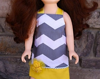 """Grey and Yellow Chevron Dress for 18"""" Dolls-Fits American Girl, Journey Girls and Madame Alexander Dolls"""