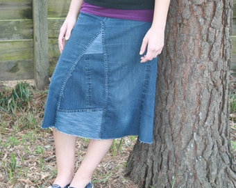 Jean Skirt, Knee Length, Fashion Jean Skirt