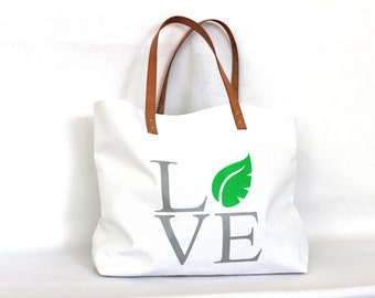 LOVE THY NATURE bag ... Sea Green and White Canvas Tote... Personalized Label