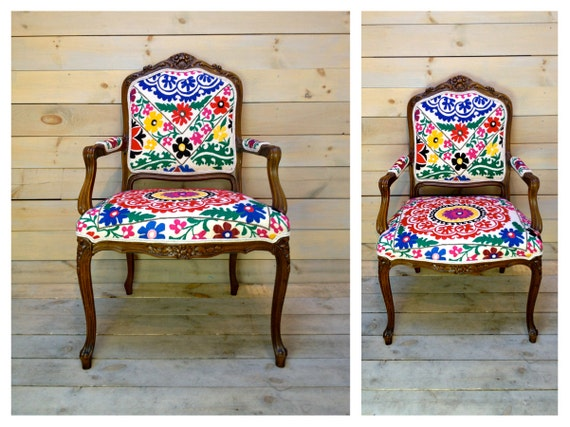 Brightly Stitched Suzani Upholstered French Carved Arm Chair