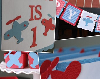 Airplane Party Package, Happy Birthday Banner, Door Sign, Candy Cups, Food Labels