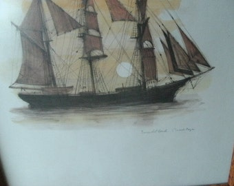Pair of Tall Ships/WOOD FRAMES/SIGNED/Galleons/Calm Waters/Sailing Boats/Sunsets/Sunrise on Water/Frigates/Clipper Ships