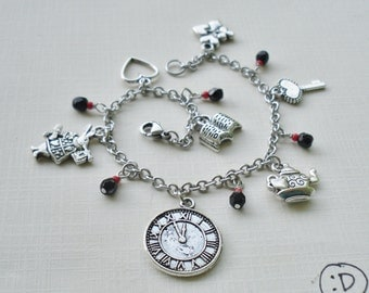 Alice in Wonderland Charm Bracelet - Black & Red Glass - Surgical Steel