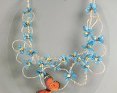 Butterfly linen necklace with forgetmenot flowers. Floral wearable art jewelry. Fairy wedding bijoux for spring bride.