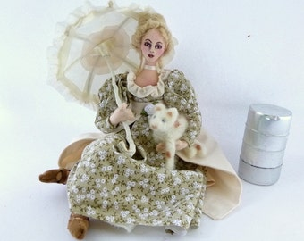 Stray art doll cloth victorian girl fabric umbrella needle felt calico cat