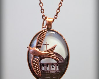 Mission Swallow Bird Photo Pendant Necklace San Juan Capistrano Copper