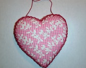 Pink Floral Heart Ornament with Red Hand-Embroidery for Valentine's Day Decoration