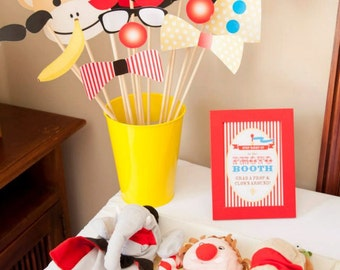CIRCUS Photo Booth Props and Sign - Print Your Own