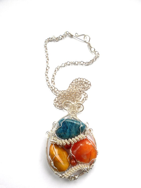 Reserved for Carol Fall Skies Wire Wrapped Sterling Silver Stone Pendant