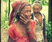 True Love, Photo, Nepal, Old Couple, Portrait, Man and Woman, Fine Art Travel Photography, TTV, Valentines, Nepalese People, Red and Green