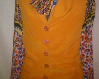 runway discount TMD: 100% silk orange sunburst jacket dress with sheer sleeves and scarf med lg