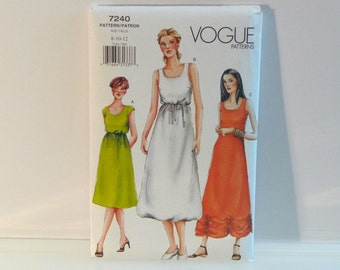 Bubble dress Pull over Dress Sleeveless Gathered Hem Sewing Pattern FF uncut Misses vogue 7240 Womens Size 8 10 12 Free US Ship