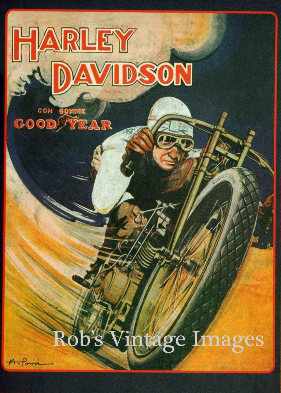 Harley Davidson Advertising: Vintage Harley Davidson Motorcycle Poster V By