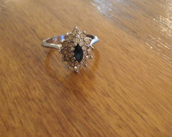Vintage sapphire and silver ring.  Size 6.  Costume ring.