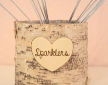 Wedding Sparklers Birch Basket- wedding decoration