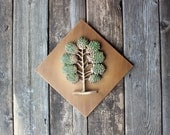 RESERVED for Megan - Syroco Wood Danish Modern - Vintage Green Tree Wall Hanging 3-D