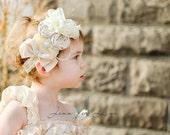 Baby Girl Headbands, Hair Accessories, Cream OTT Bow, Easter Headband, Flower Girl Headband