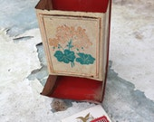 Vintage Match Box/Shabby Chic Decor/1960s/Red and White/Tin Box