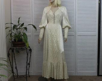 Vintage 1970s Wedding Dress  Brocade Victorian Steampunk