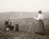 Man, Woman & Dog on Mountain Stereo Photograph, from Antique c.1900 Glass Negative