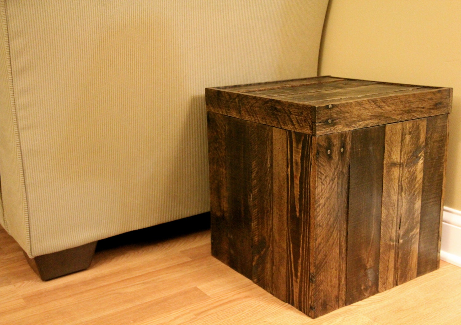 Wooden Ottoman With Storage Designs ~ Reclaimed pallet wood furniture storage cubed ottoman