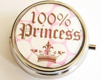 Princess Pill Box, Pill Case, Pill Container, Gift for her, Candy container, mint case, Princess, Polka Dots (2135)