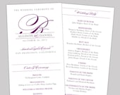 Pretty Script Printable Wedding Program - DIY Ceremony Program - Classic, Elegant, Purple, Gray
