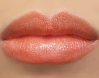 "Vegan Lipstick - ""Snapdragon"" (pearly coral peach lipstick color) natural lip tint, balm, lip colour mineral lipstick"